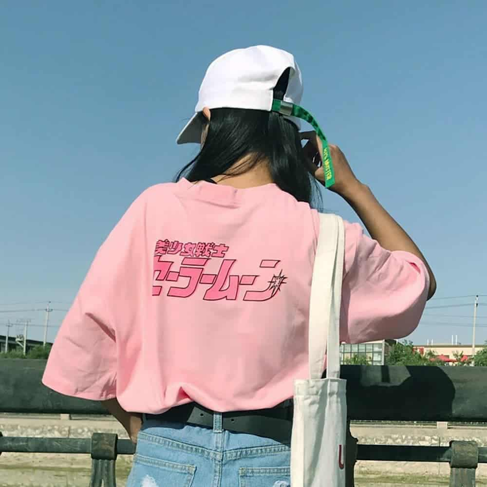 ANIME CHARACTERS LOOSE PINK T-SHIRT (2)