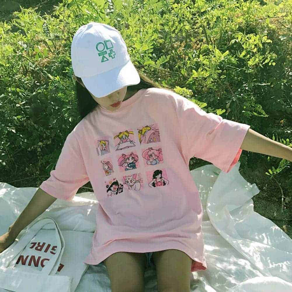 ANIME CHARACTERS LOOSE PINK T-SHIRT (3)