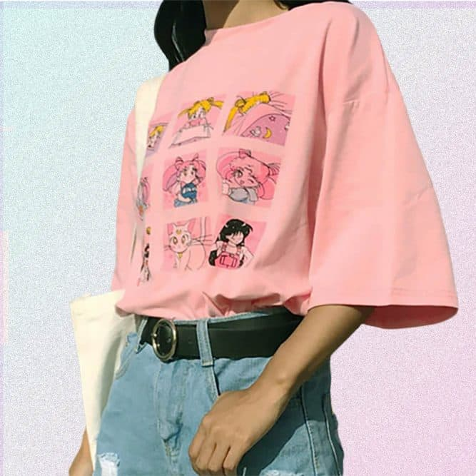 ANIME-CHARACTERS-LOOSE-PINK-T-SHIRT