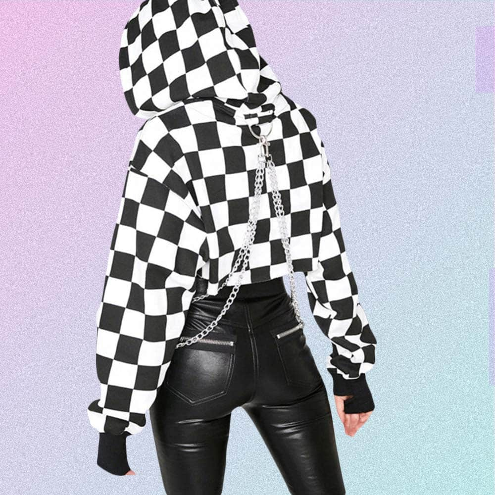CHECKERED GRID CROPPED CHAINED HOODIE 2