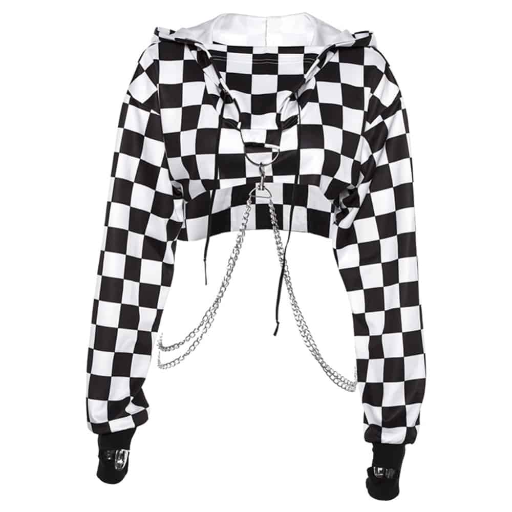 CHECKERED GRID CROPPED CHAINED HOODIE
