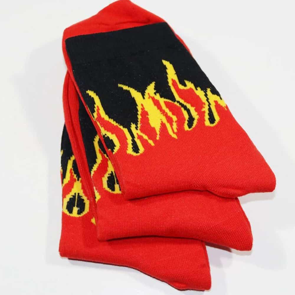 GRUNGE STYLE FLAMES COTTON SOCKS