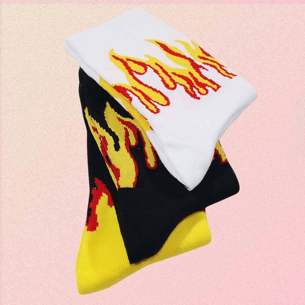 GRUNGE STYLE FLAMES COTTON SOCKS G2
