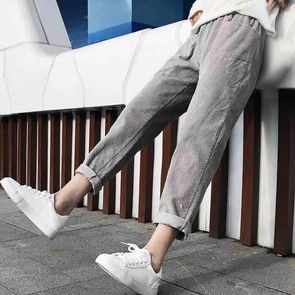 VINTAGE HIGHT WAIST LOOSE VELVET PANTS (4)