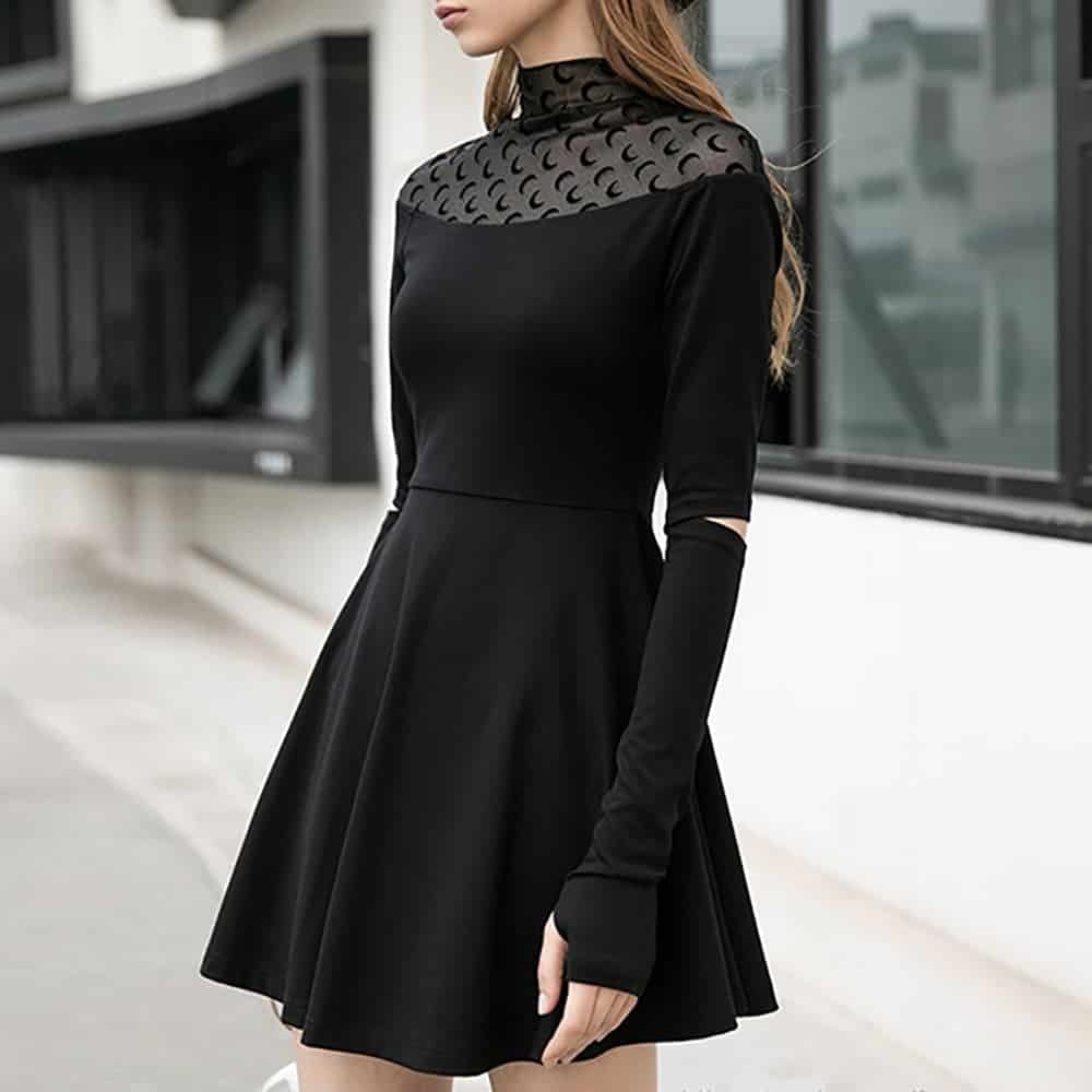 MOON PRINT BLACK LONG SLEEVE DRESS