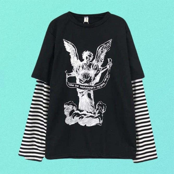 ANGEL PRINT STIPED SLEEVES FAKE TWO PIECE LOOSE SHIRT
