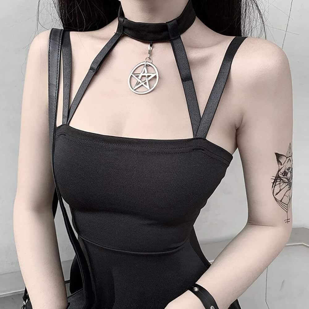 BLACK GOTHIC STYLE NECK STRAP DRESS