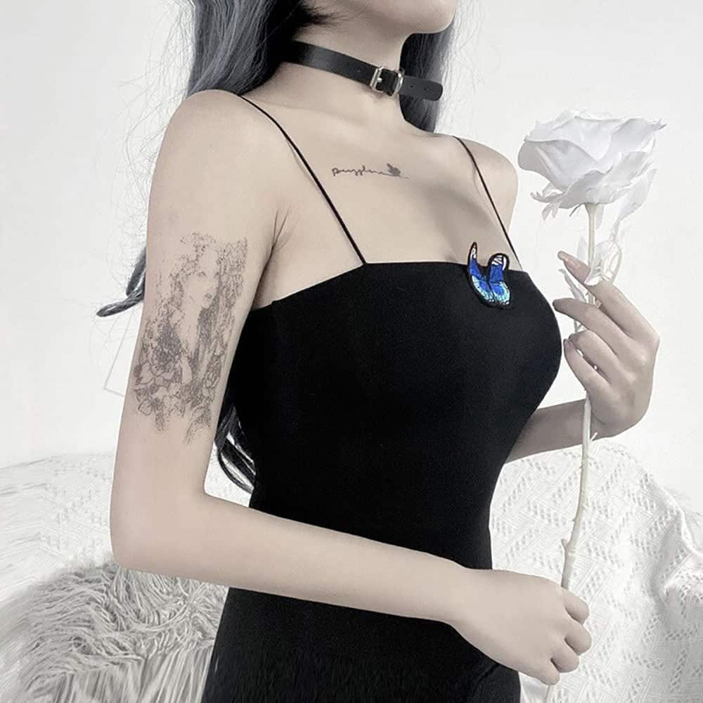 BUTTERFLY FITTED WITH THIN STRAPS DRESS