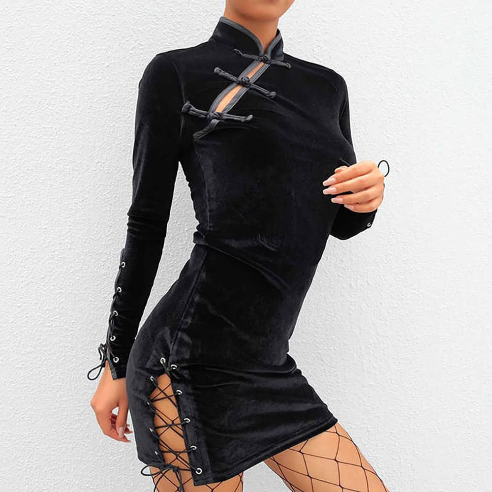 CHINESE STYLE THIGHT LONGSLEEVE DRESS