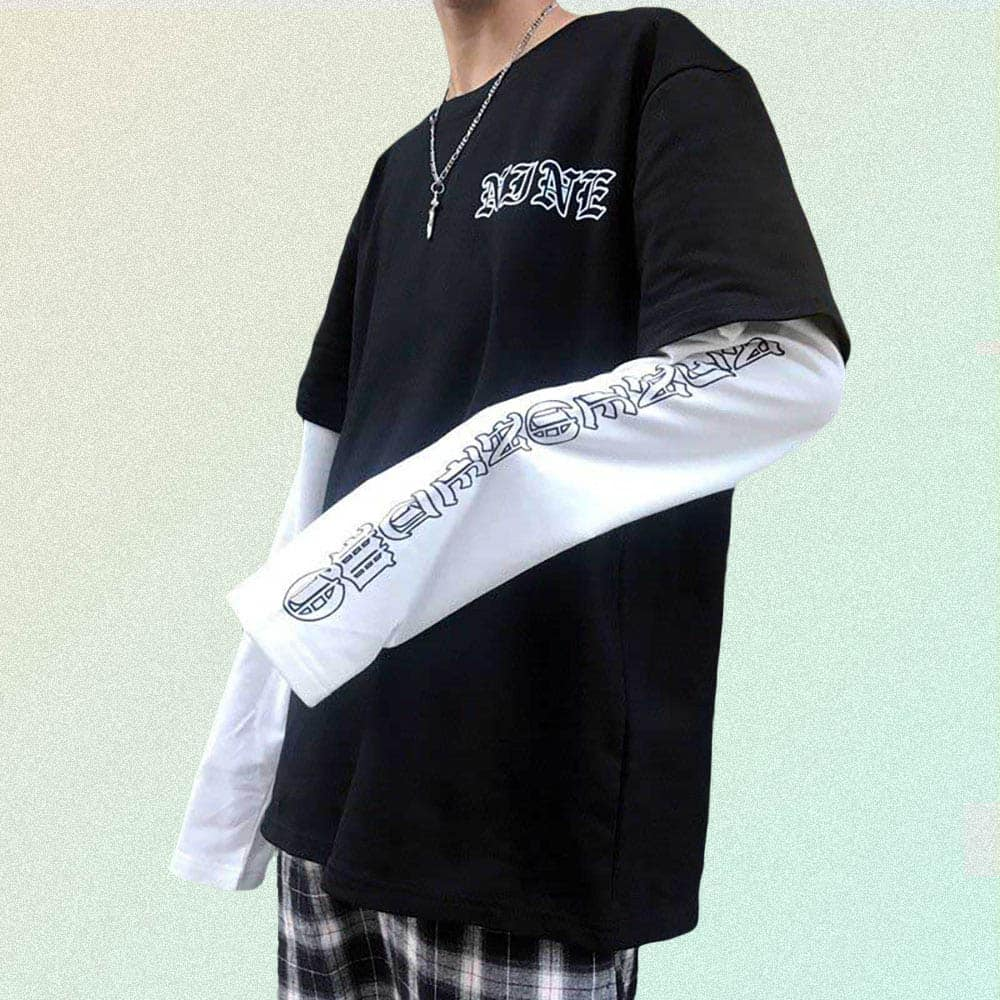 GOTHIC LETTERS PRINT FAKE TWO PIECE LOOSE SHIRT
