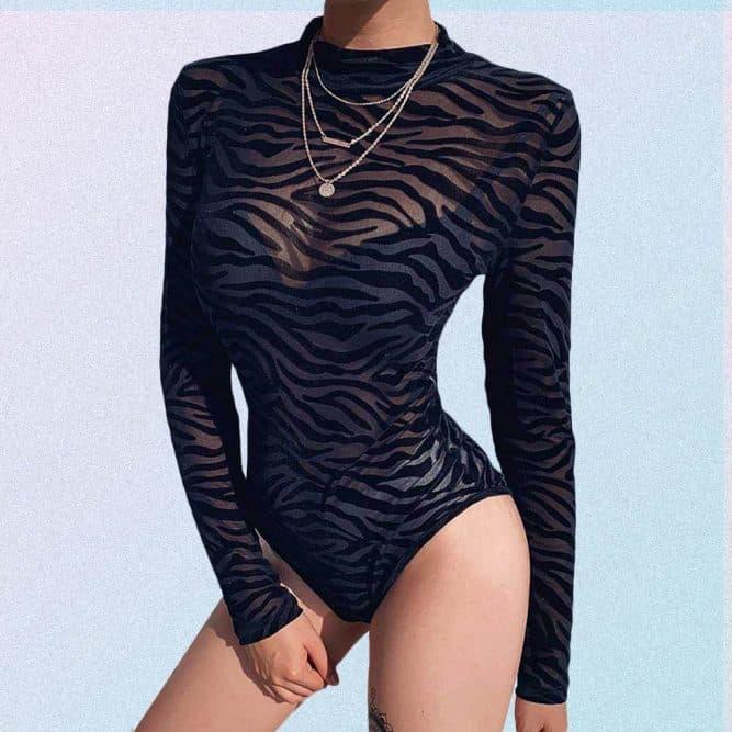 SEXY ZEBRA PRINT MESH BODYSUIT