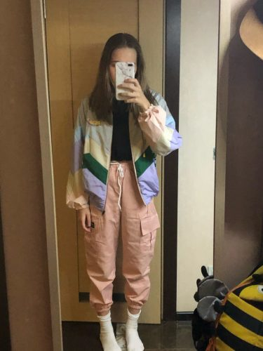 PASTEL COLOR PINK PURPLE WINDRUNNER JACKET photo review