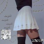 Cross Print High Waist Pleated Goth Aesthetic Skirt photo review