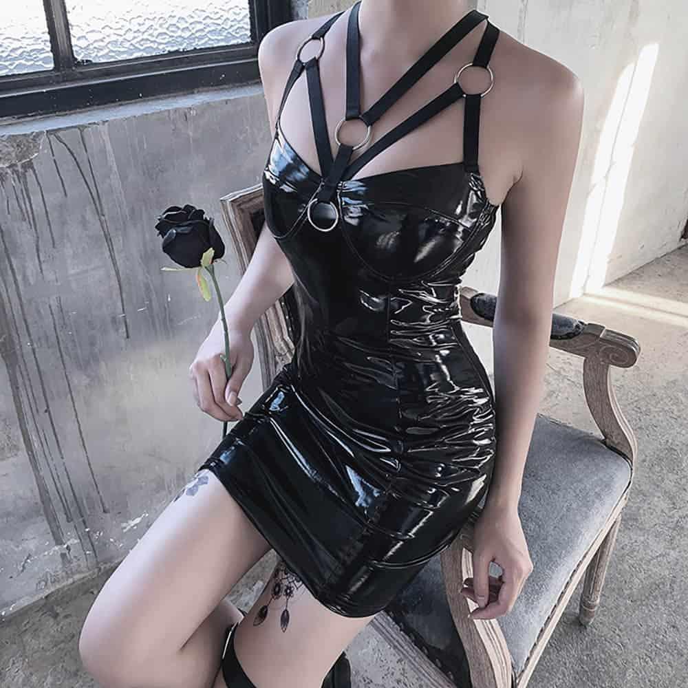 VINTAGE GOTH LATEX TIGHT SEXY DRESS (3)