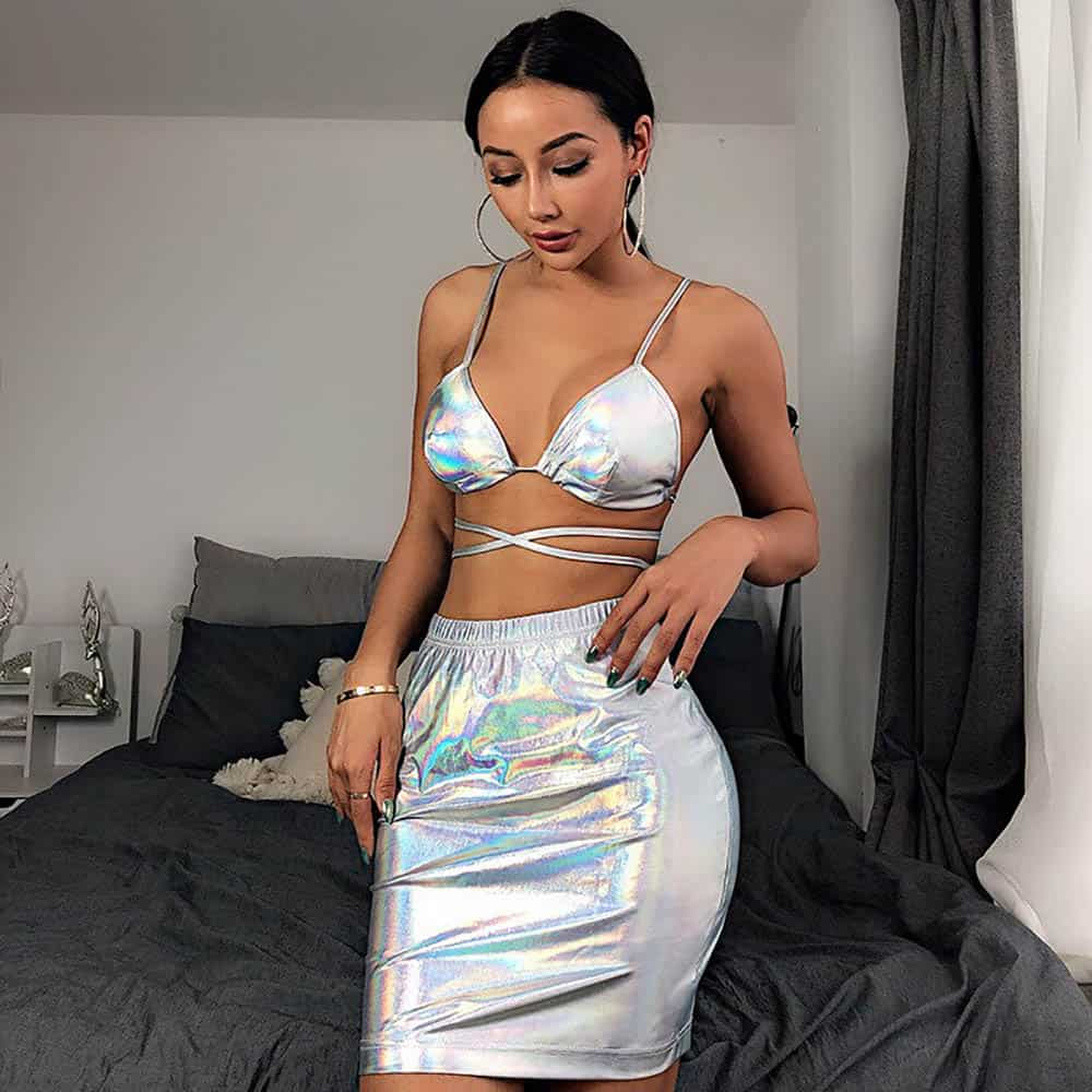 2 IN 1 LASER HOLOGRAPHIC TOP & STRETCHY HIGH WAIST SKIRT
