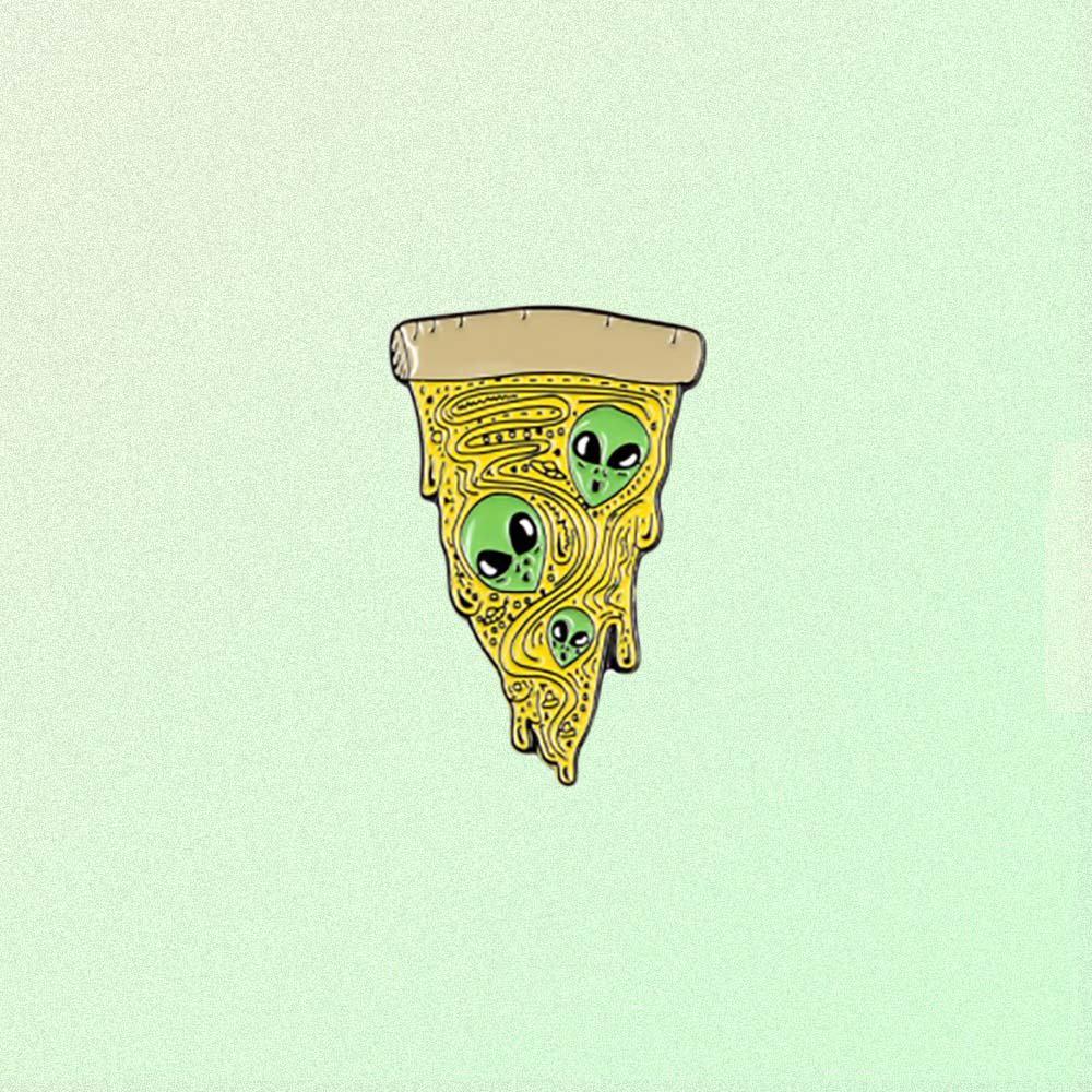 ALIEN PIZZA ENAMELED PIN