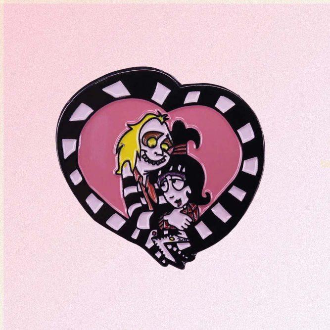 BEETLEJUICE & LYDIA HEART ENAMELED PIN