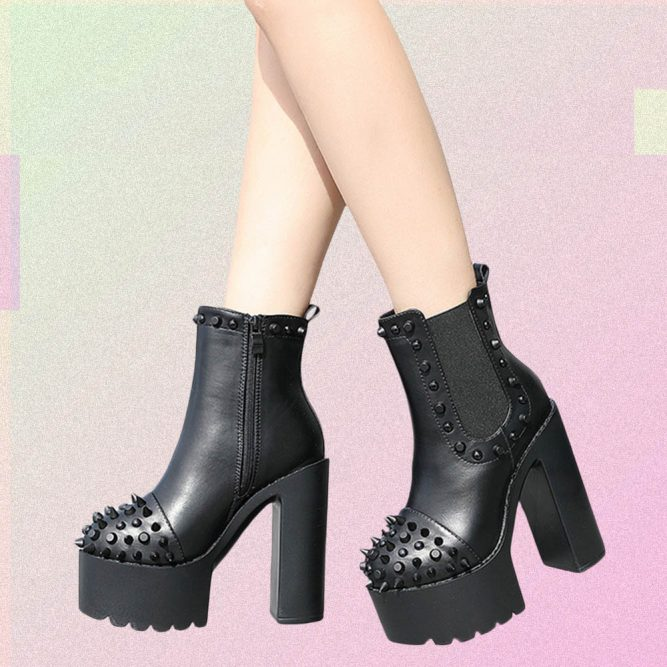 BLACK HIGH HEEL STUDS & SPIKES ANKLE BOOTS