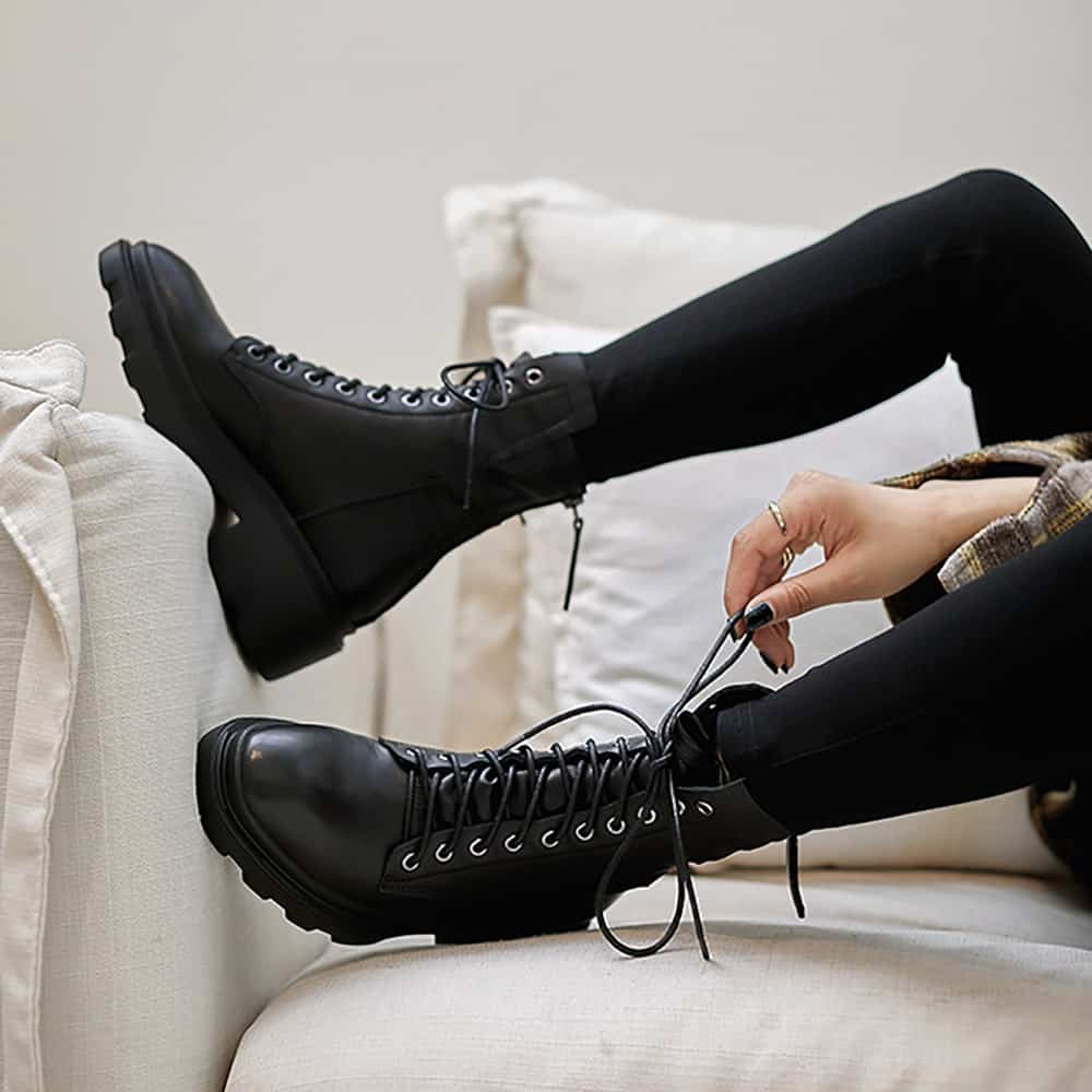 BLACK LEATHER LACE UP FLAT ANKLE BOOTS