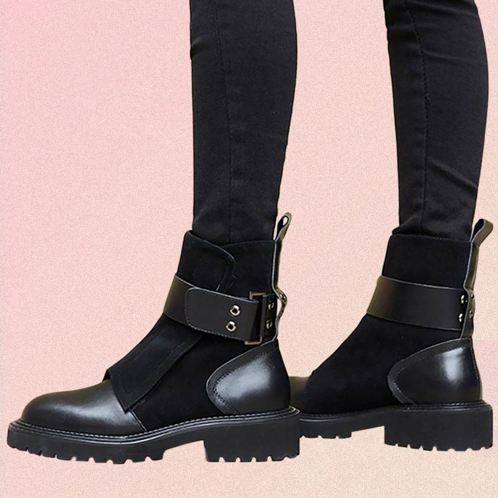 BLACK LEATHER METAL BUCKLE FLAT ANKLE BOOTS