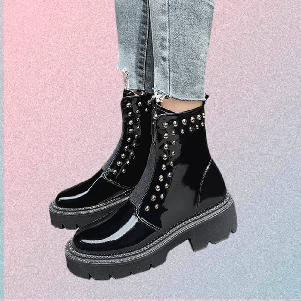 BLACK PATENT LEATHER METALLIC STUDS HIGH ANKLE BOOTS