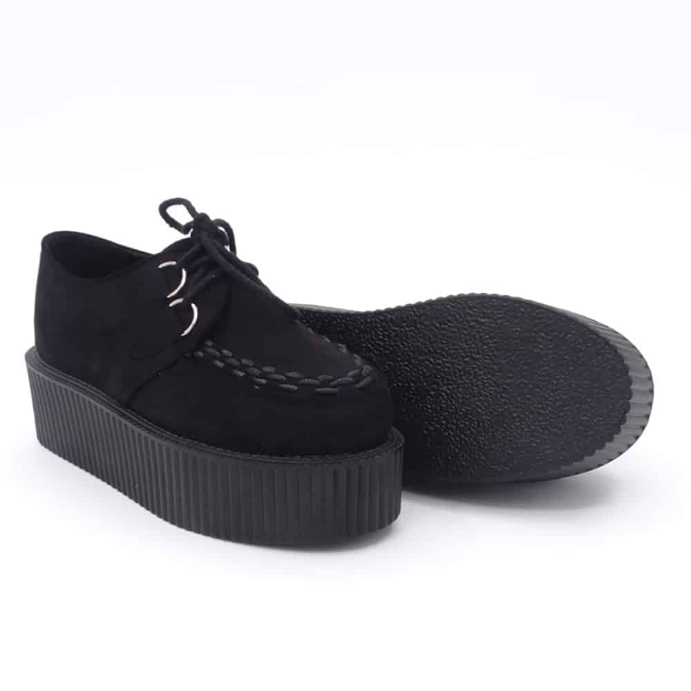 BLACK PLATFORM CREEPERS PU SUEDE BOOTS