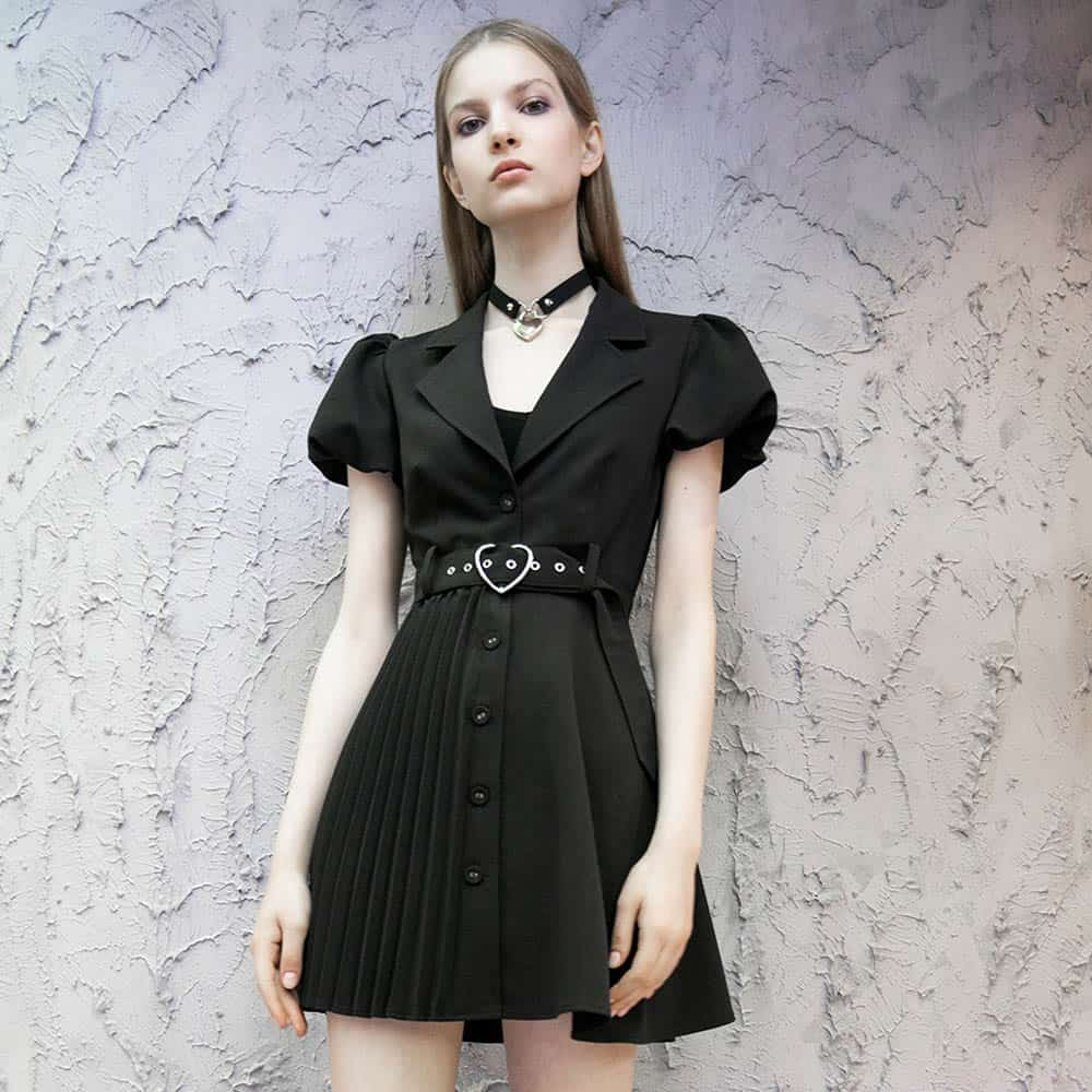 BLACK PLEATED MINI DRESS