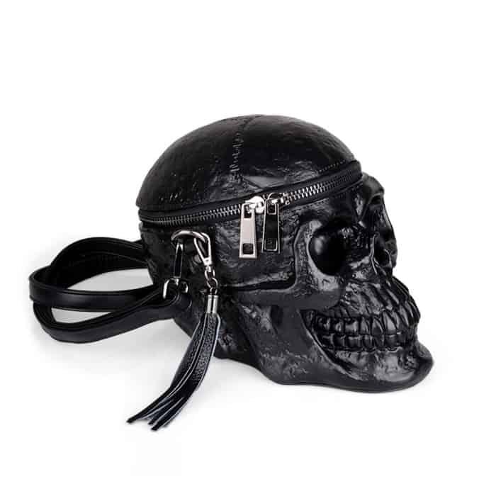 BLACK SKELETON SKULL SHOULDER BAG