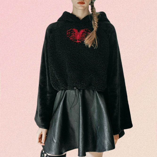 BLACK WITH SOFT HEART EMBROIDERY HOODIE