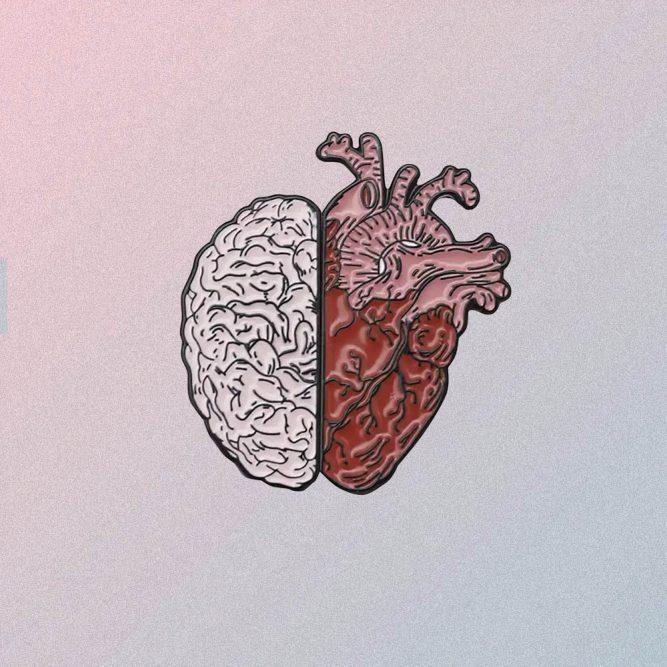 BRAIN HEART ENAMELED PIN