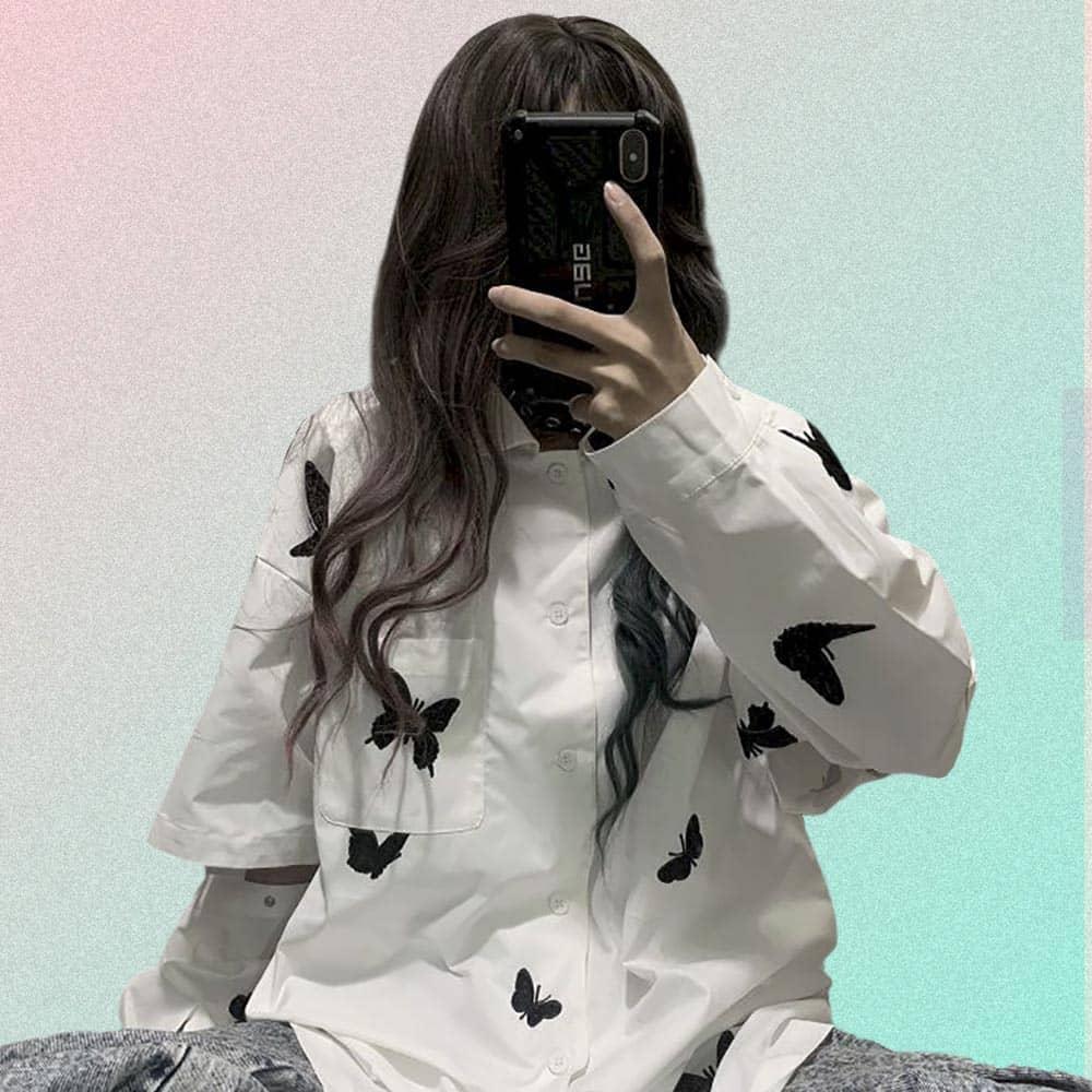 BUTTERFLY PRINT LONG SLEEVE WHITE HARAJUKU SHIRT
