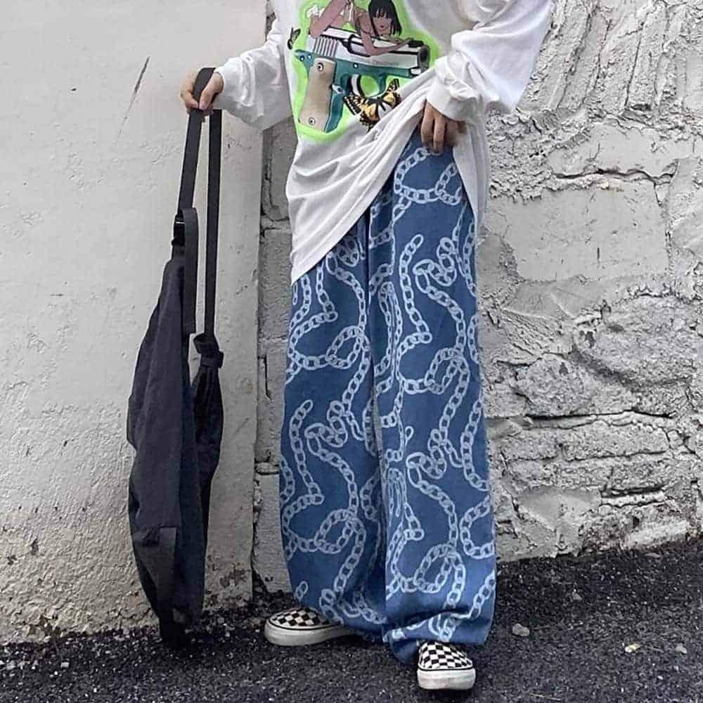 CHAINS PRINT ELASTIC WAIST OVERSIZED HARAJUKU PANTS