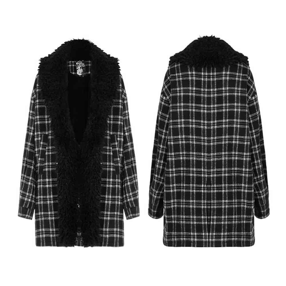 CHECKERED WOOL WITH FUR COLLAR COAT