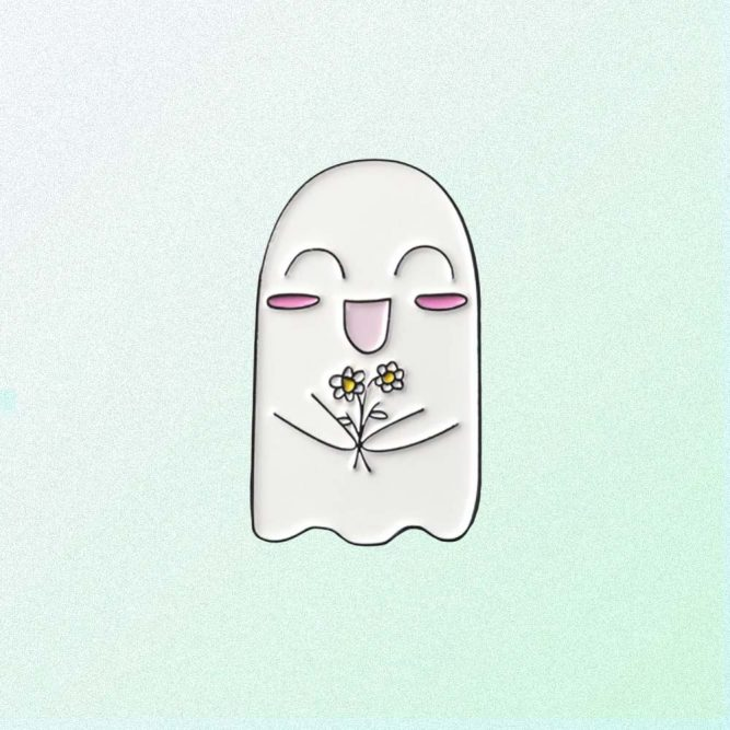 CUTE GHOST WITH FLOWER ENAMELED PIN