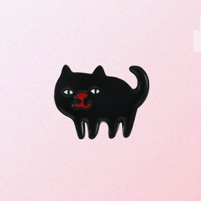 FUNNY WITCH CAT ENAMELED PIN