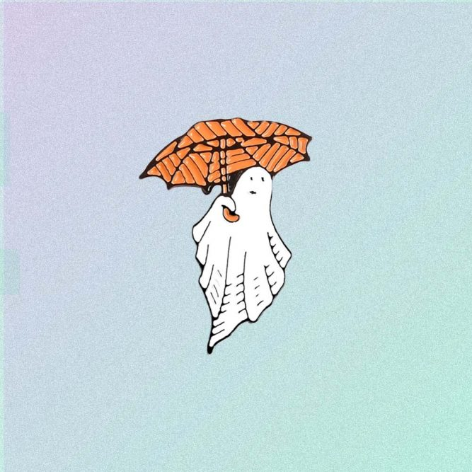 GHOST WITH UMBRELLA HALLOWEEN PIN