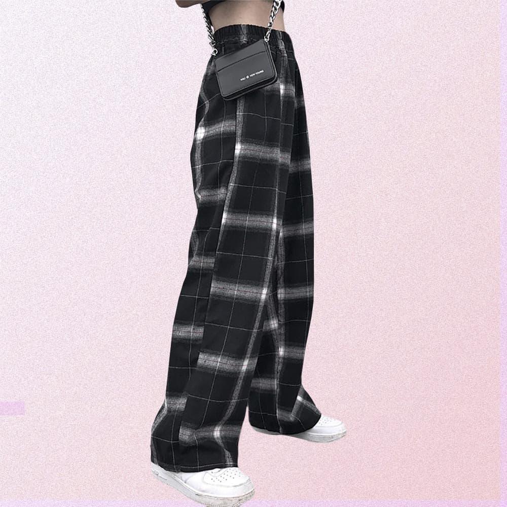 GRUNGE PLAID LOOSE STRAIGHT PANTS