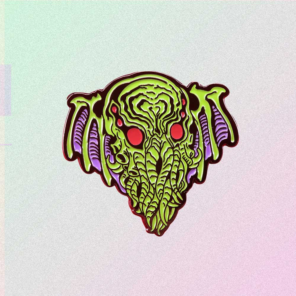 H. P. LOVECRAFT CTHULHU HEAD ENAMELED PIN