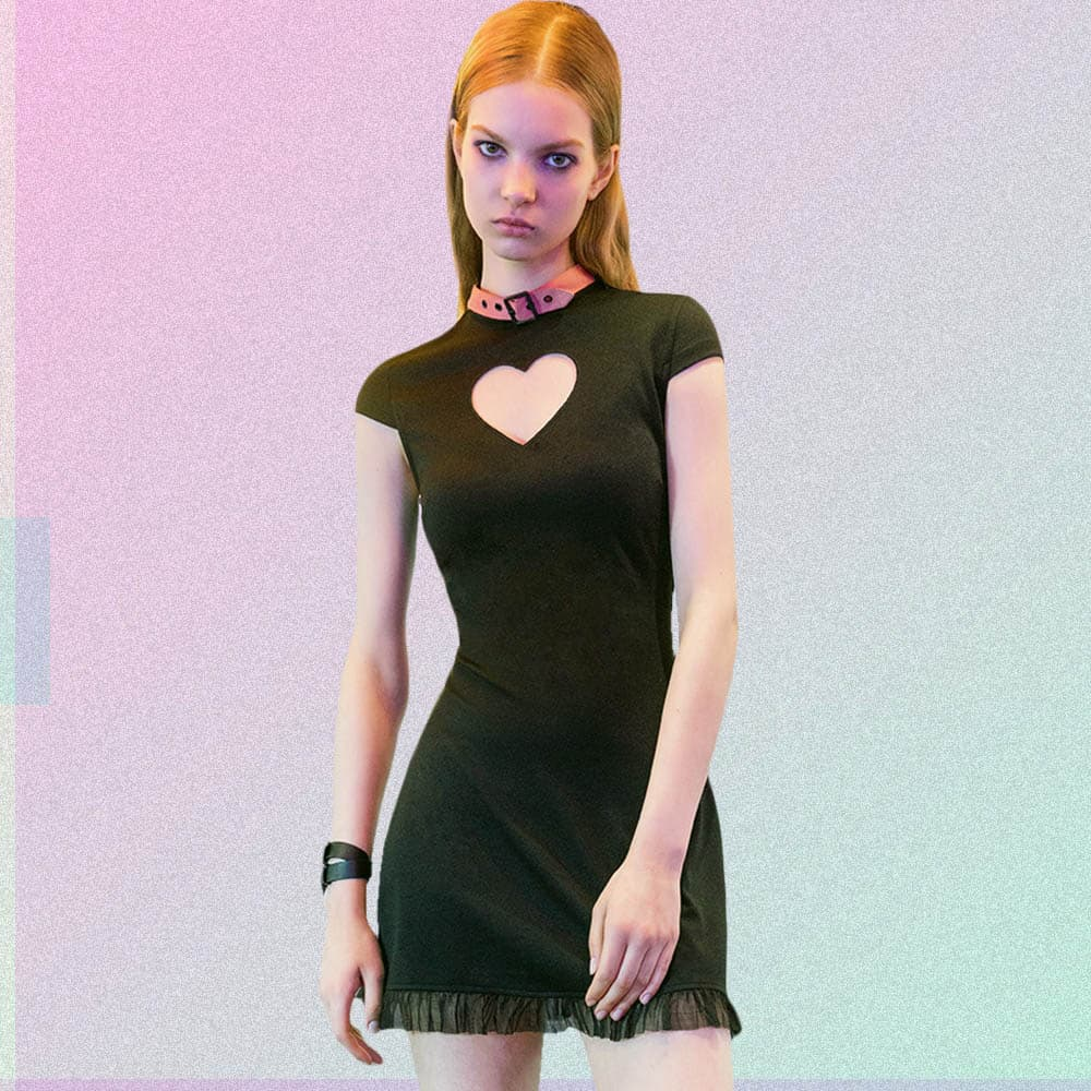 HEART - SHAPED CUTOUT MINI DRESS