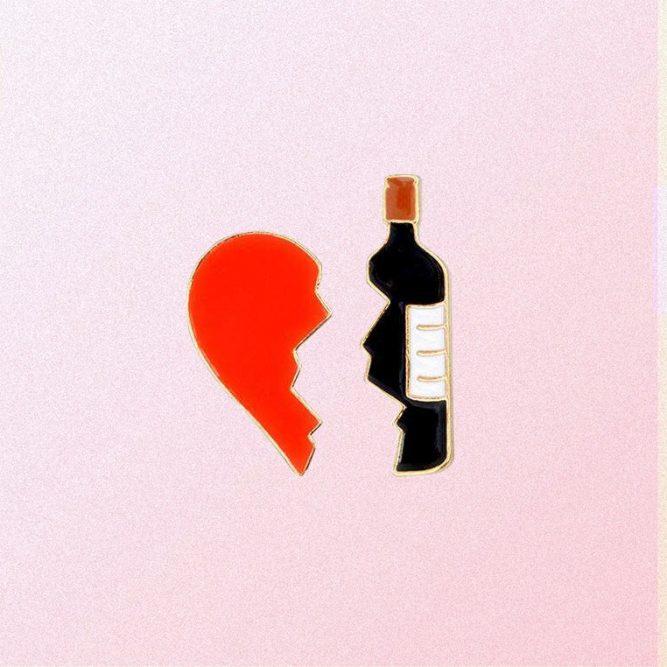 HEART & WINE 2 PIECE ENAMELED PIN