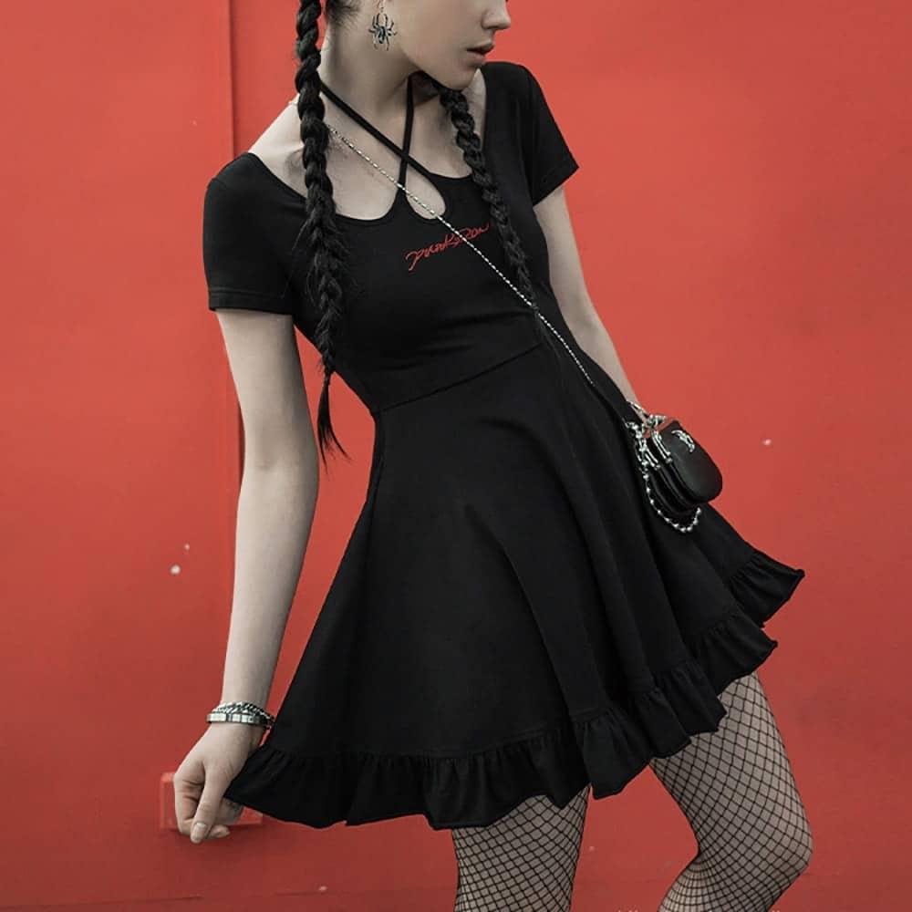 BLACK SHORT A-LINE CUT-OUT DRESS