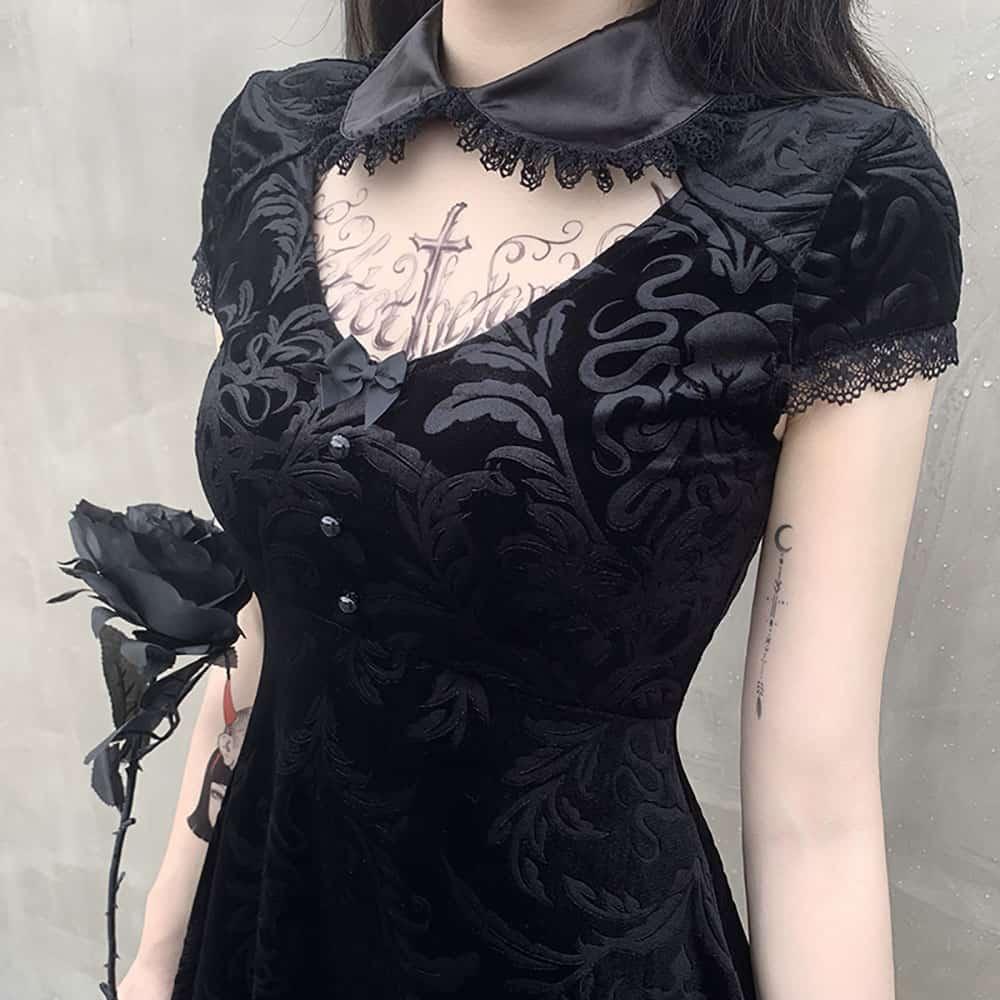 LACE VELVET VINTAGE DRESS