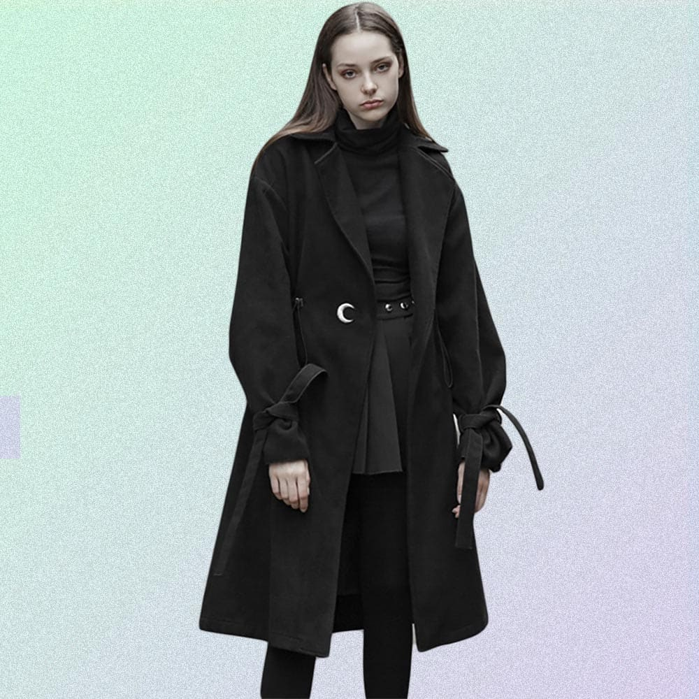 LONG WITH A BELT, LACING AND MOON EMBROIDERY COAT