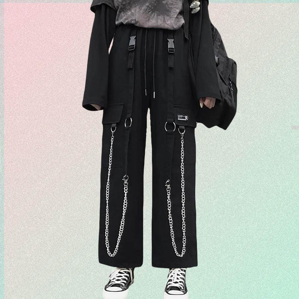 LOOSE FLEX HARAJUKU CARGO PANTS WHITH CHAINS