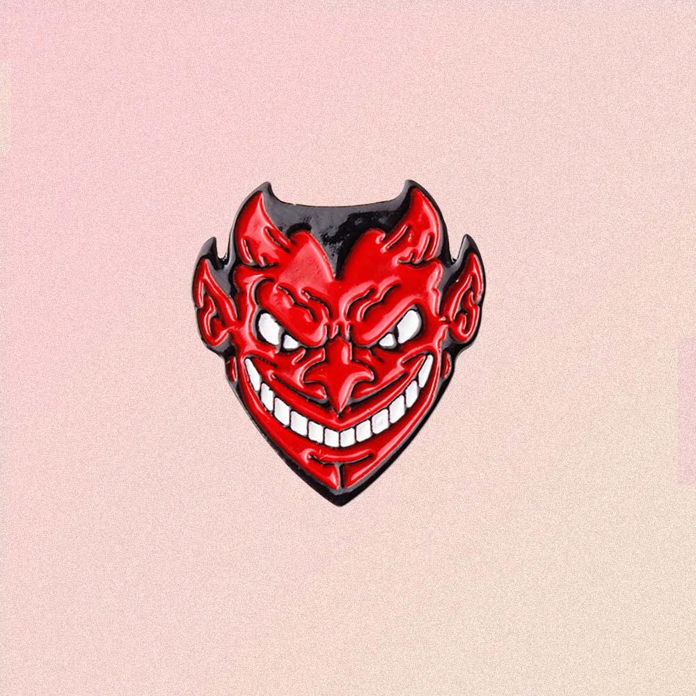 RED DEVIL HEAD ENAMELED PIN