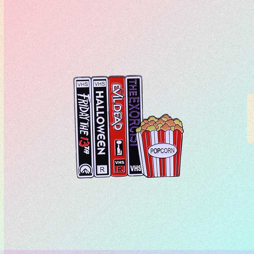 SCARY MOVIES VIDEO TAPES & POPCORN ENAMELED PIN