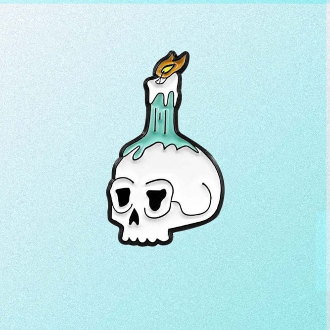 SCULL CANDLE ENAMELED PIN