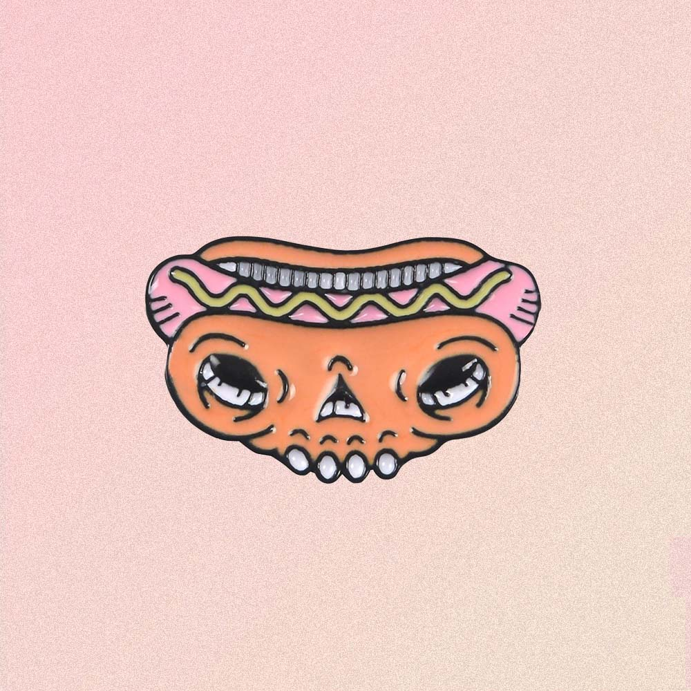 SCULL HOT DOG ENAMELED PIN