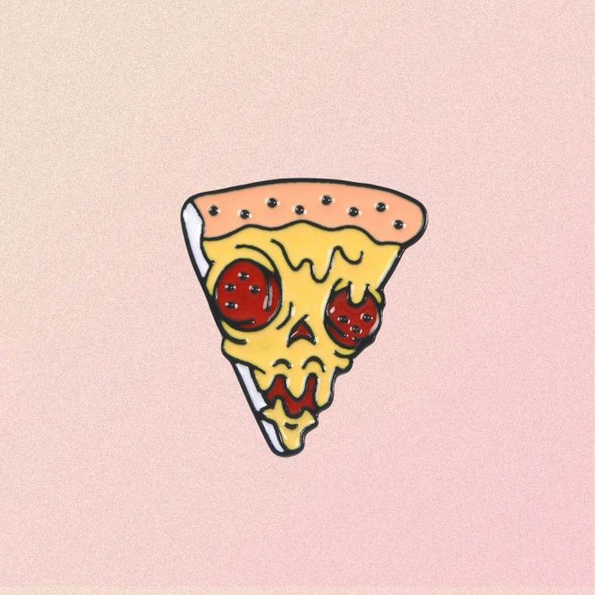 SCULL PIZZA ENAMELED PIN