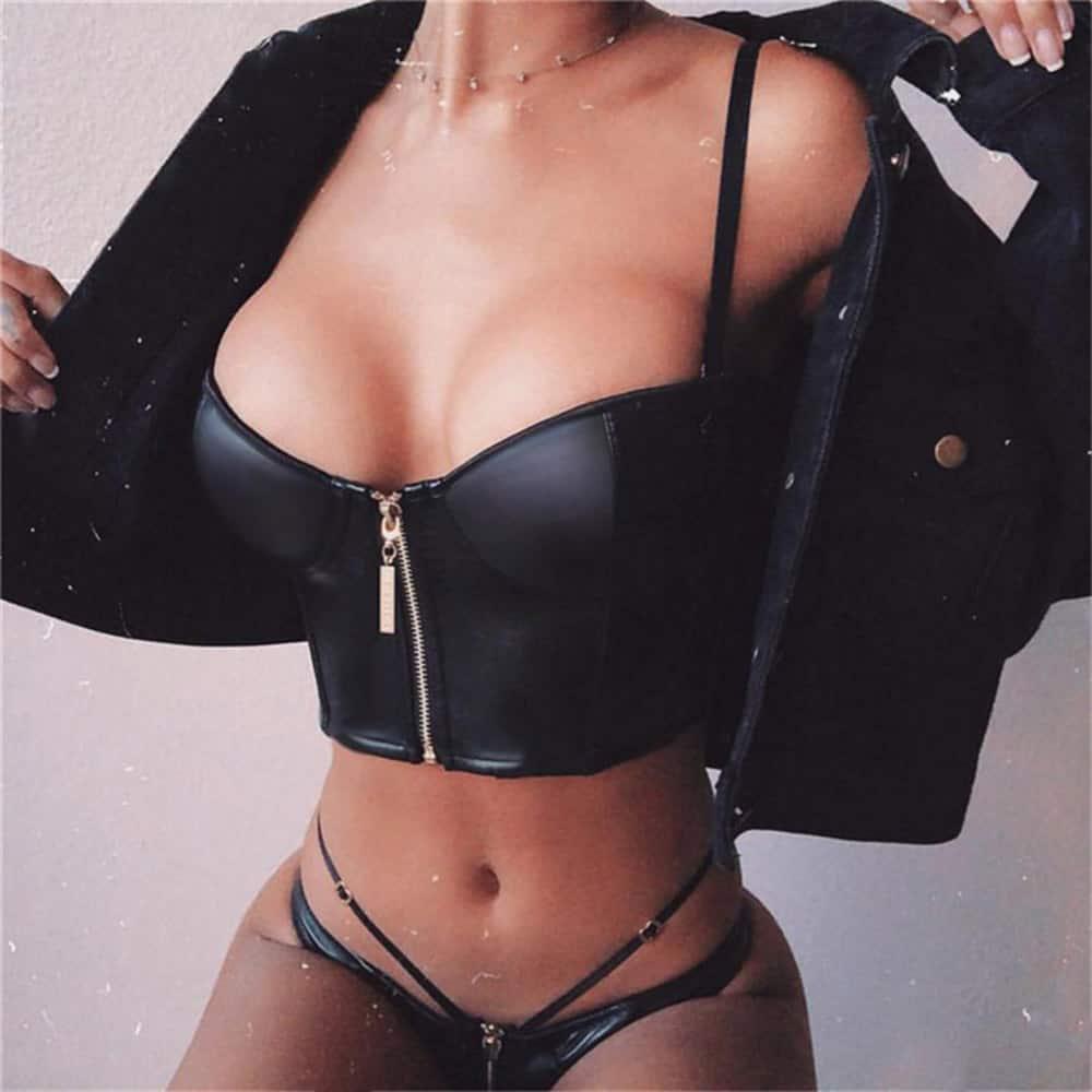 SEXY BLACK LEATHER ZIP TOP